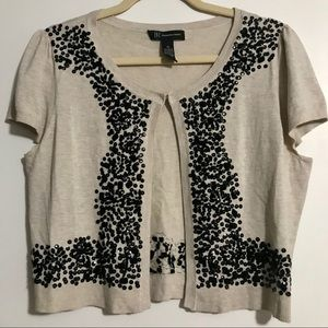 Short Sleeve Cardigan with Embroidering & Sequins